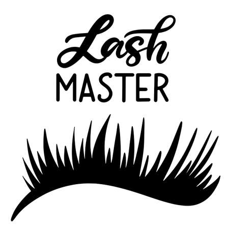 7f3472c2339 Lashes lettering vector illustration for beauty salon, fashion blog, logo,  false eyelashes extensions