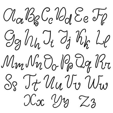 Illustration pour Alphabet in English. Hand drawn typeface, lettering script font. Letters handwritten in modern calligraphy style for design, poster, print. Vector illustration EPS10. - image libre de droit