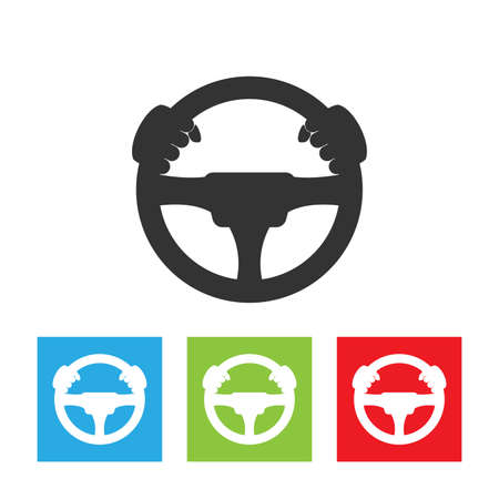 Illustration pour Driver icon. Simple logo of steering wheel on white background. Flat vector driver illustration. - image libre de droit