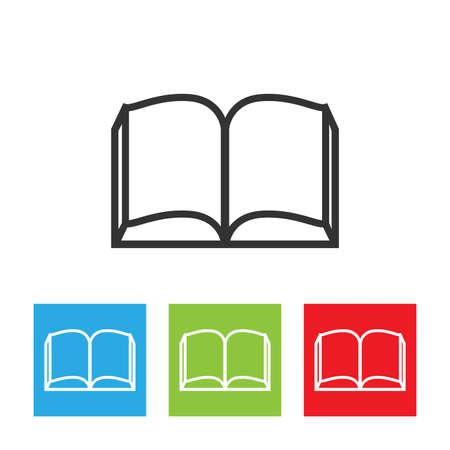 Illustration pour Open book icon. Simple logo of book opened in a middle isolated on white background. Flat vector illustration. - image libre de droit