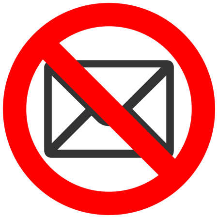 Illustration pour Forbidden sign with envelope icon isolated on white background. Envelope is prohibited vector illustration. Mail is not allowed image. Envelops are banned. - image libre de droit