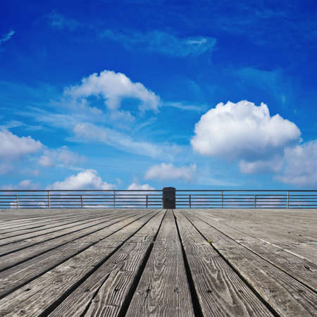 Wooden floor and the sky