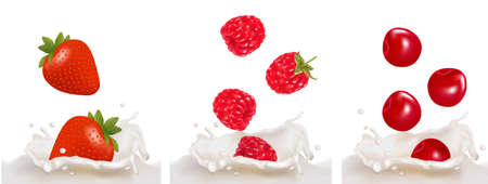 Set with red raspberry, strawberry and cherry fruits falling into the milk splash. illustration