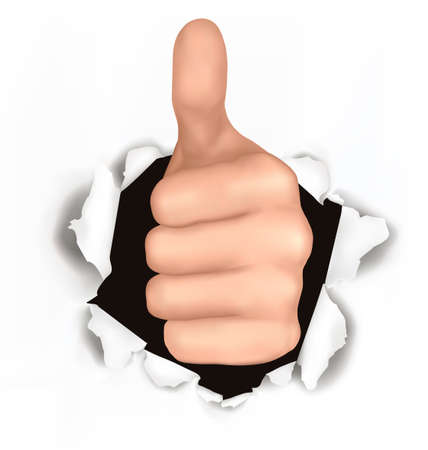 Conceptual illustration of thumb up. Hand with thumb up has broken through a paper