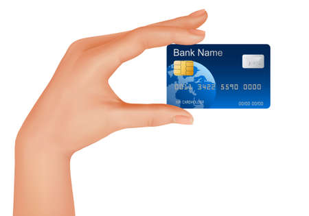 Credit card, money, bank business and hand.