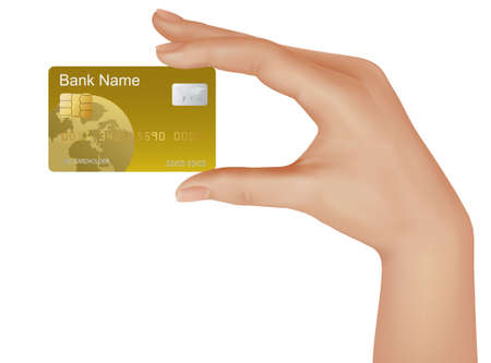 Credit card with chip in a male hand. illustration.