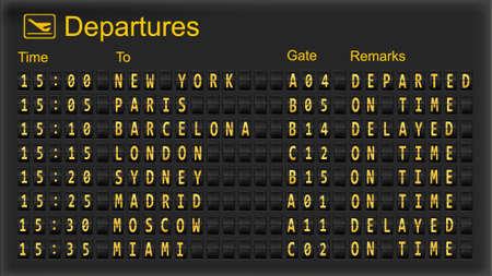 Split flap mechanical departures board. Vector