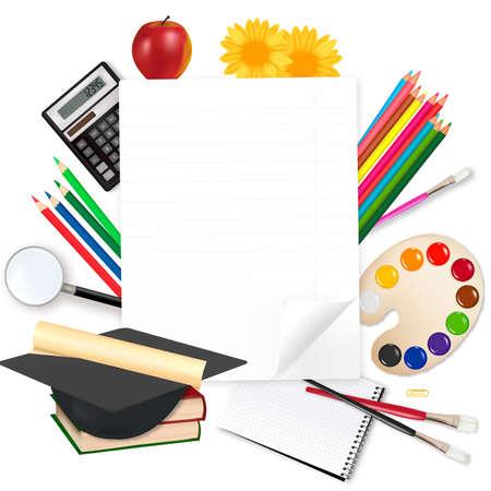 Back to school. Paper with school supplies. Vector.