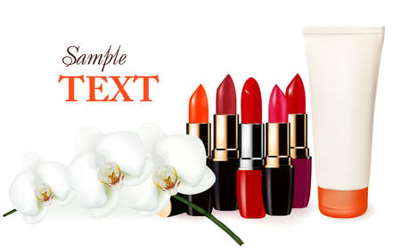 Background with multicolored color lipsticks, cosmetic tube and orchid.