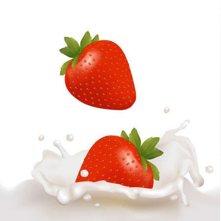 Red strawberry fruits falling into the milky splash. illustration