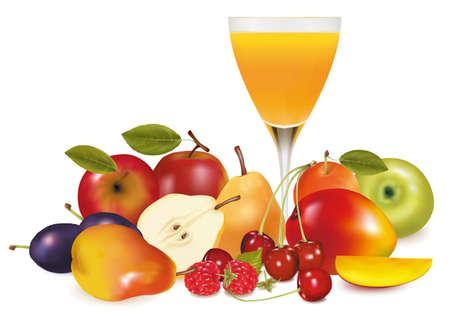 Fresh fruit and juice.  illustration.