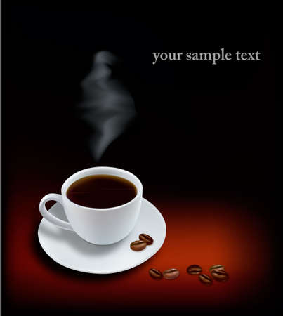 Cup of coffee on black background. Photo-realistic vector.