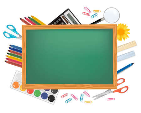 Photo for Blackboard with school supplies. Vector.  - Royalty Free Image