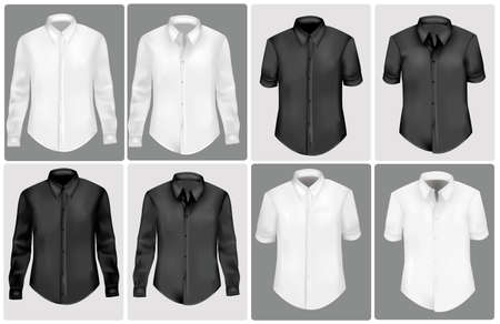 black and white polo shirts. photo-realistic illustration.