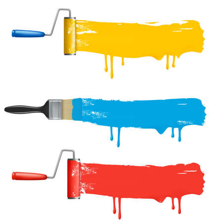 Set of colorful paint roller brushes.
