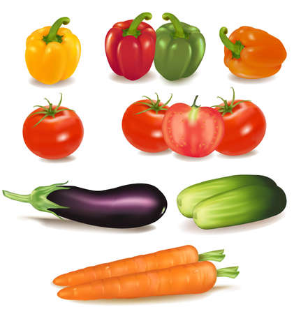 The big colorful group of ripe vegetables. Photo-realistic vector. のイラスト素材