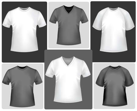 Black and white sporty polo shirts and t-shirts