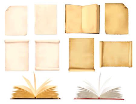 Illustration pour Set of old paper sheets. Vector illustration.  - image libre de droit