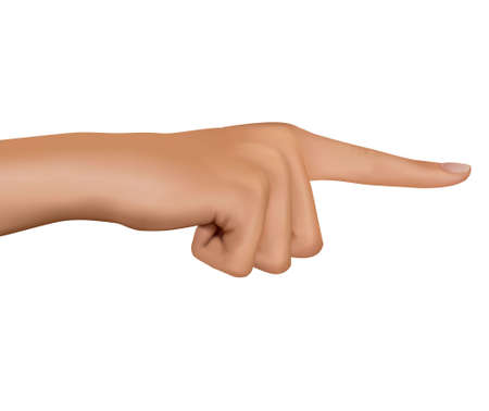 Hand with pointing finger. Vector.