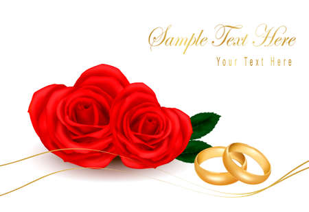 Wedding rings and roses bouquet. Vector illustration.