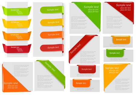Big collection of colorful origami paper banners and stickers. Vector illustration.