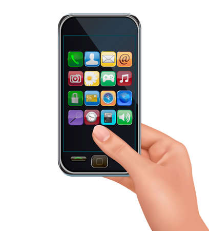 A hand holding touchscreen mobile phone with icons.