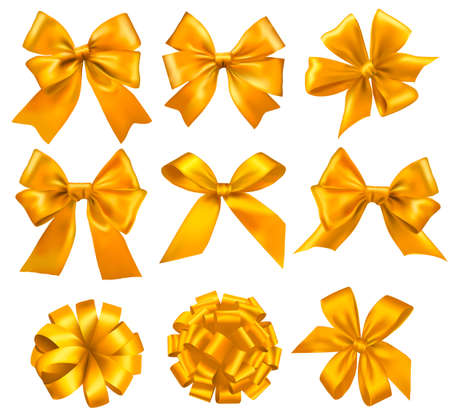 Big set of yellow gift bows with ribbons. Vector.