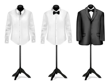 Black suit and white shirt with butterfly on mannequins. illustration.