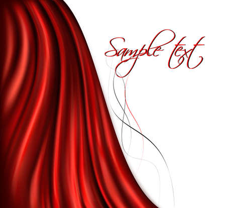 Brightly lit red curtain background. Vector illustration.