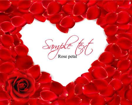 Beautiful heart of red rose petals. Vector