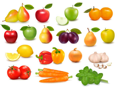 Illustration for Big collection of fruits and vegetables  Vector illustration  - Royalty Free Image