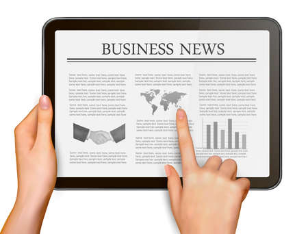 Finger touching digital tablet screen with business news  Vector illustration