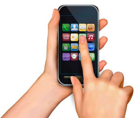 A hands holding touchscreen mobile phone with icons  Vector