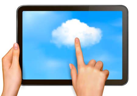 Cloud computing concept  Finger touching cloud on a touch screen  Vector