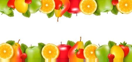 Vektor für Two borders made of delicious ripe fruit. - Lizenzfreies Bild