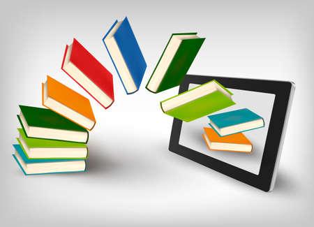 Illustration pour Books flying in a tablet  - image libre de droit