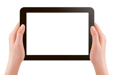 Illustration pour  Hands holding digital tablet pc illustration - image libre de droit