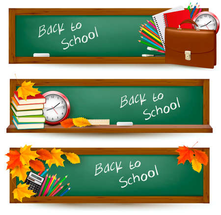 Illustration pour Set of back to school banners   - image libre de droit