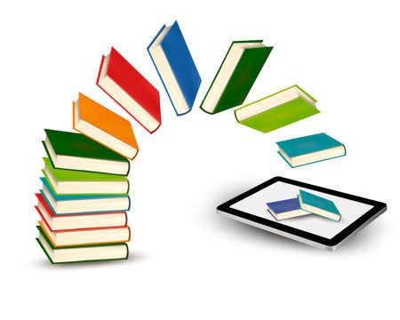 Books flying in a tablet illustration