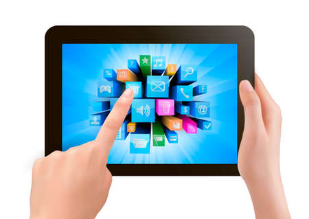 Hand holding touch pad pc and finger touching it