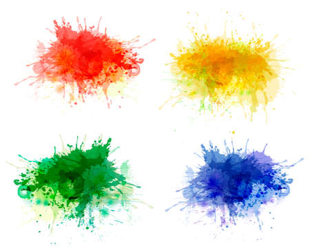 Illustration pour Collection of colorful abstract watercolor backgrounds - image libre de droit