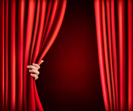 Illustration for Background with red velvet curtain and hand. Vector illustration - Royalty Free Image