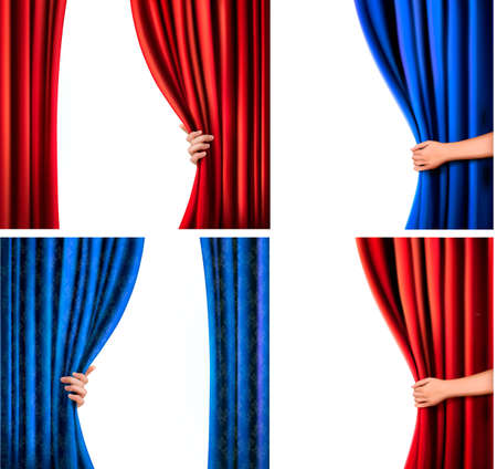 Set of backgrounds with red and blue velvet curtain and hand illustration