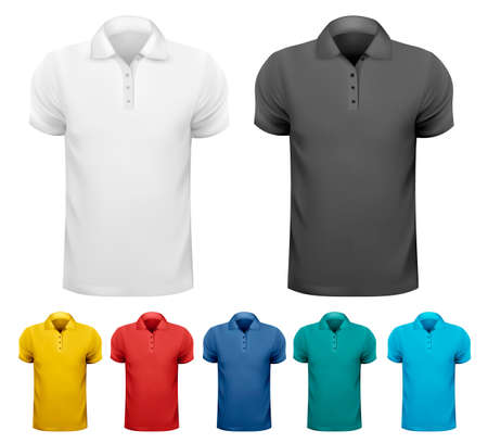 Black and white and color men t- shirts. Design template. Vector illustration