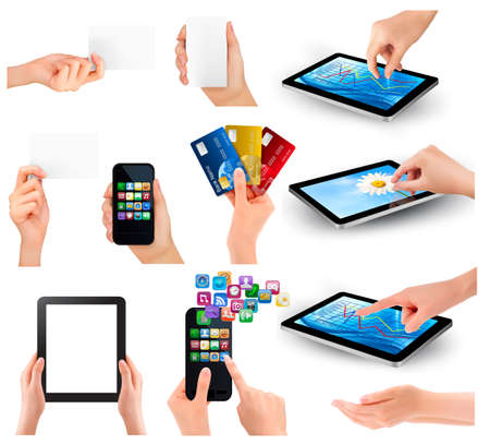 Collection of hands holding different business objects illustration