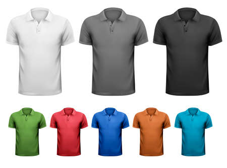 Ilustración de Black and white and color men t-shirts. Design template. Vector illustration  - Imagen libre de derechos
