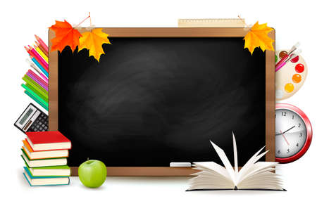 Back to school. Blackboard with school supplies. Vector.