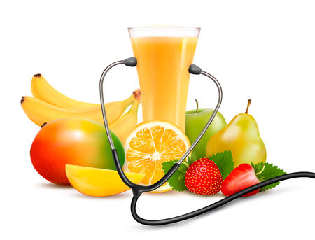 Group of fruit and a stethoscope. Dieting concept.