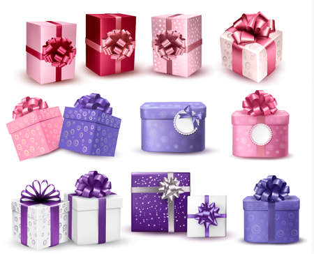 Set of colorful gift boxes with bows and ribbons. Vector illustration.