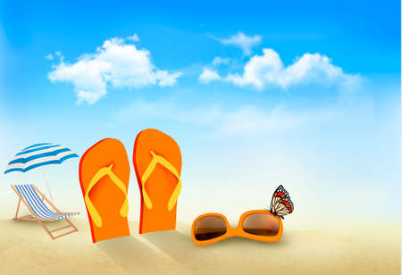 Flip flops, sunglasses, beach chair and a butterfly on a beach  Summer vacation background  Vector